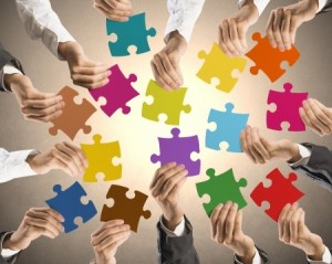 Jigsaw puzzle hands